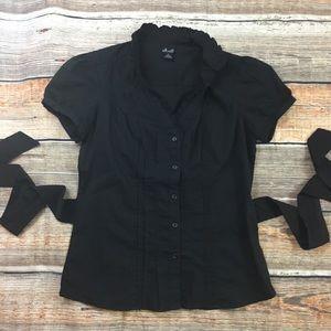 Willi Smith | Black Tie Button Up Blouse